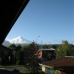  View of the Villarrica Volcano from our room at La Tetera