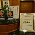 Reception con Certificate of Excellence 2012 by Tripadvisor