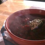 Delicious soups to be had at Two Sisters. Here, borscht.