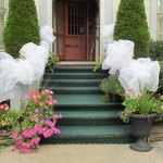 Our beautiful entryway decorated for a summer wedding.