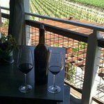 A bottle of reserve cabernet on the veranda