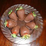 Jessica surprised us with chocolate covered strawberries in our room for our anniversary!