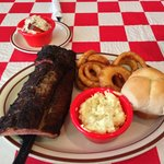 Half rack of Ribs with slaw, potato salad and onion rings