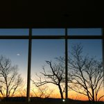 View from dining room at sunset.