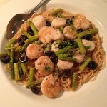 Shrimp, scallops, asparagus on wheat angel hair pasta