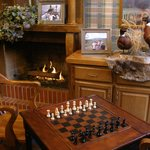 Relax By the Fireplace in Our Trophy Room