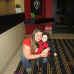 My daughter and I in the main lobby of the hotel on Halloween!