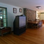 The old box-style projection TV in the large function room