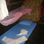 thin mattress; mosquito net with holes