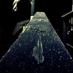 Icy Railing in Moonlight