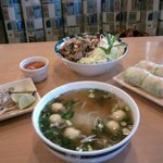 Bun (Vermicelli), Spring Rolls, and Seafood Pho clockwise from top