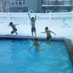 Jumping in after snowball fight!