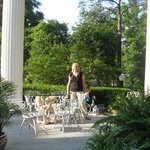 My wife, Sandy, on porch of Inn