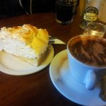 Hot chocolate and Lemon meringue cake