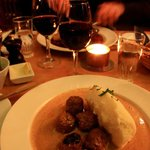 "Delicious meal - ""Smakas"" meatballs with mashed potatoes and lingon berries"