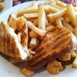 Shrimp Sandwich w/ a FEW fries!