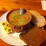 soup with bratwurst and bread