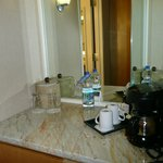 Closer look at the mini bar/coffe area.
