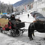  Sleigh ride arriving at the front of the hotel