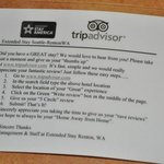 Card asking for a perfect rating on TripAdvisor!