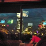 View of Cincinnati from inside restaurant.