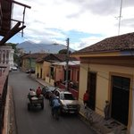 View from balcony with Merced Church and Mombacho Volcano