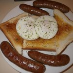  Sausage and eggs for Breakfast, excellent value at $ 10 total for 2 people