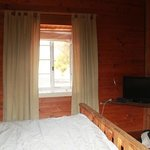 Double bedroom with old style decor plus air conditioning