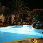  One of the two pools at nighttime