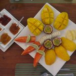 tropical fruit platter for breakfast