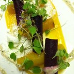 beet salad with goat cheese powder and tangerine gel
