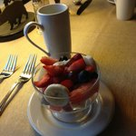 fresh fruit & coffee to kick off breakfast!