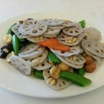 Stir Fried Lotus with assorted nuts and sweet peas