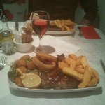                    Sirloin Steak with Scampi (surf n turf)