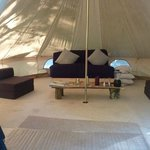 Inside the fully equiped bell tents