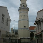Looking up the street to the mosque