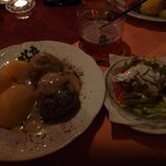German meatballs (beef & pork) in caper sauce, boiled potatoes & salad