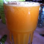 Freshly squeezed tangerine juice...delicious!