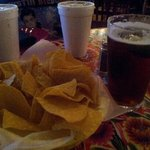                    chips, salsa, and beer