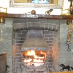 Log fire in pub