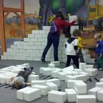 children can build (and break down) structures after lunch