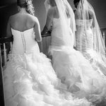 3 brides overlooking balcony