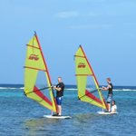 Boys Windsurfing in Roatan