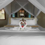 Towel Swan Hearts on Bed