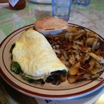 Veggie Omelet with home fries and english muffin