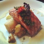      GRILLED SALMON grilled medium-moist, fine herbs, maple beurre blanc, a crispy mashed potato 