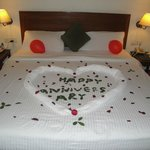 our bed decorated on our anniversary