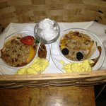                    Our delicious breakfast delivered to our door.  :)