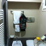 Compact bathroom, your chest is close to the sink basin when sitting on the to