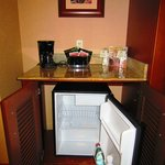 Mini fridge, coffee maker and other treats